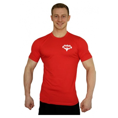 Elastické tričko malý Superhuman - červená/bílá