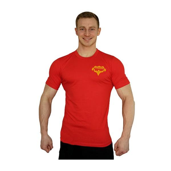 Tričko Superhuman malé logo - červená/žlutá