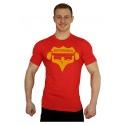 Tričko Superhuman velké logo - červená/žlutá