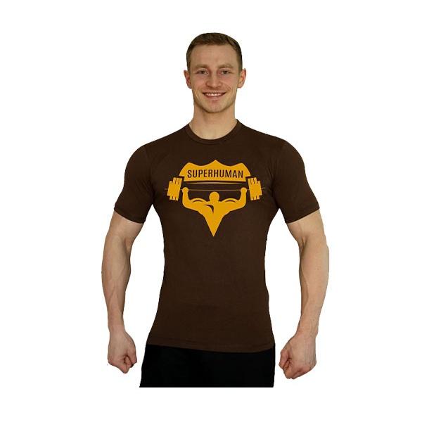 Elastické tričko Superhuman - hnědá/žlutá