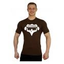 Elastické tričko Superhuman - hnědá/bílá