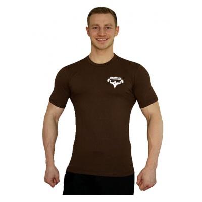 Elastické tričko malý Superhuman - hnědá/bílá