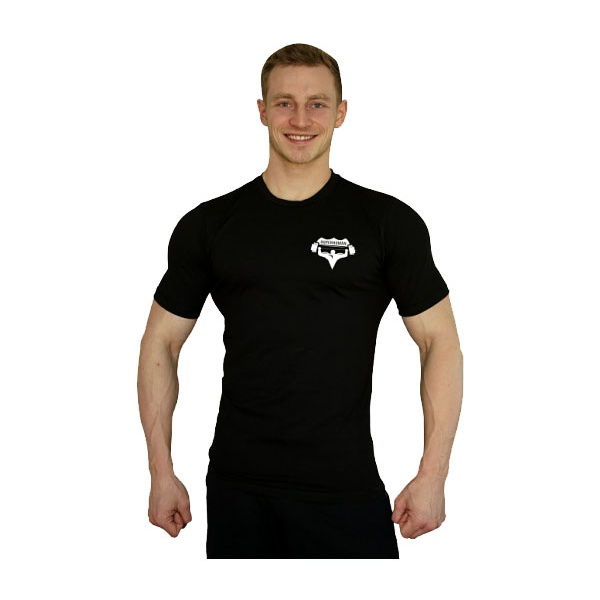 Elastické tričko Superhuman malé logo - černá/bílá