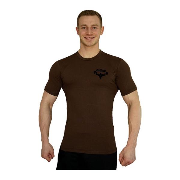 Tričko Superhuman malé logo - hnědá/černá