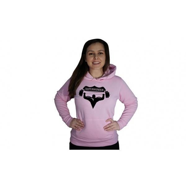 Mikina s kapucí Superhuman - růžová/černá