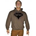 Mikina s kapucí Superhuman - hnědá/černá
