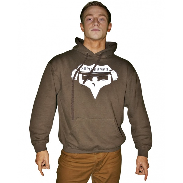 Mikina s kapucí Superhuman - hnědá/bílá