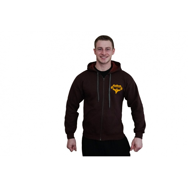 Mikina na zip s kapucí Superhuman - bordová/žlutá
