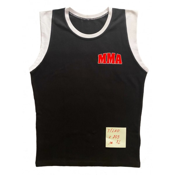 Černé tílko s červeným nápisem MMA velikost XL