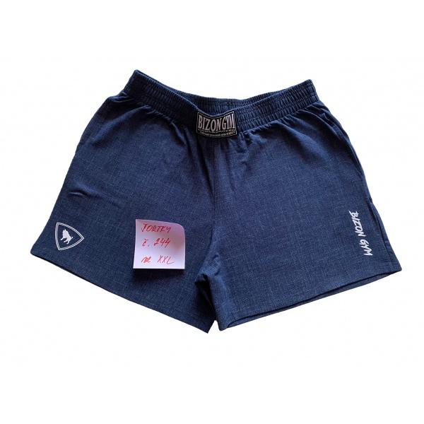 modré šortky