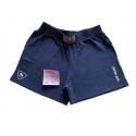 Modré šortky s malým logem a nápisem velikost XXL