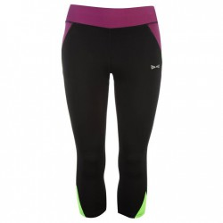 USA Pro Three Quarter Leggings - Black/Purp/Grn