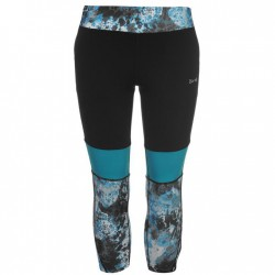 USA Pro Three Quarter Leggings - Teal Col Block