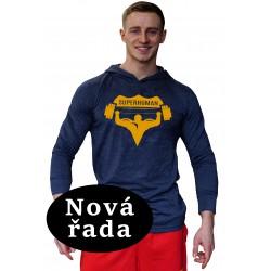 Tričko s kapucí Super Human - MODRÁ/ORANŽOVÁ
