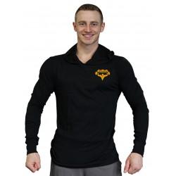 Tričko s kapucí Super Human - černá/oranžová